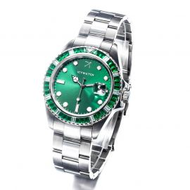 40mm Green Iced Green Luminous  Dial Watch in White Gold
