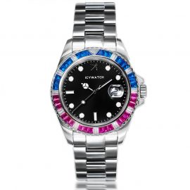 40mm Iced Watch with Black Luminous Dial in White Gold