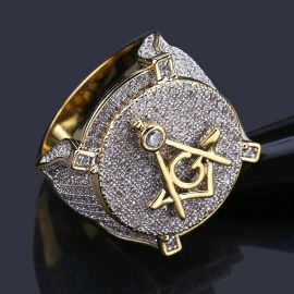 Iced Masonic Ring in Gold