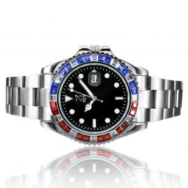 40mm Iced Black Luminous Dial Watch In White Gold