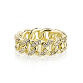 Iced 8mm Cuban Ring in Gold