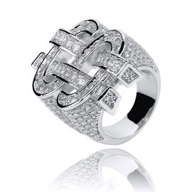 Iced Money Dollar Sign Ring in White Gold