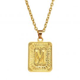 Initial Medallion Letter Pendant Necklace in Gold