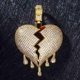 Drip Broken Heart Pendant in Gold