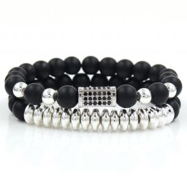 2Pcs Black Frosted & Copper Beads Bracelet Set in White Gold