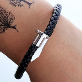 Leather and Titanium Steel Nail Open Bracelet