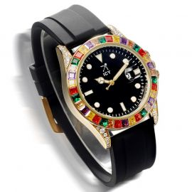 40mm Rainbow Rose Gold Luminous Watch with Black Rubber Strap