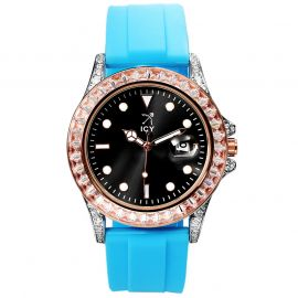 40mm Black Luminous Dial Rose Gold Watch with Blue Rubber Strap