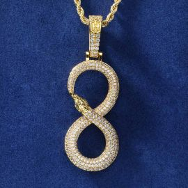 """Iced """"8"""" Ouroboros  Pendant in Gold"""
