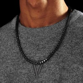 5mm Black Stones Tennis Chain Set in Black Gold