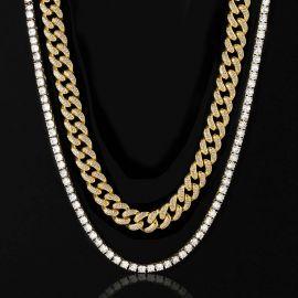 5mm Tennis Chain + 13mm Miami Cuban Link Chain Set in Gold