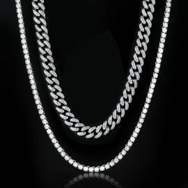 5mm Tennis Chain + 13mm Miami Cuban Link Chain Set in White Gold