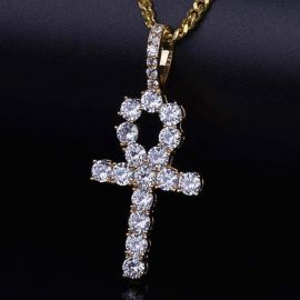 Iced Ankh Pendant in Gold