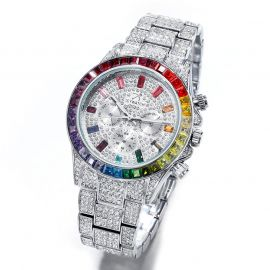 40mm Iced Rainbow Dial Watch in White Gold