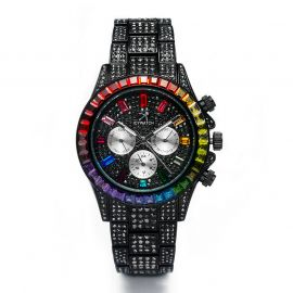 40mm Iced Rainbow Dial Watch in Black Gold