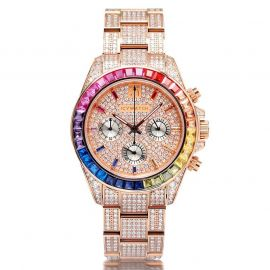 Luxury Handcrafted Rainbow Stainless Steel Watch in Rose Gold