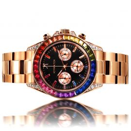 40mm Rainbow Iced Black Dial Watch in Rose Gold