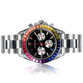 40mm Rainbow Iced Black Dial Watch in White Gold