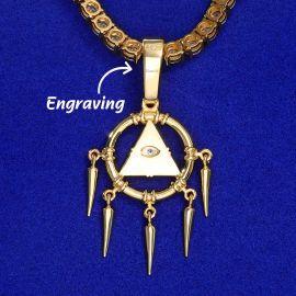 Egyptian Pyramid Eye of Horus Pendant in Gold