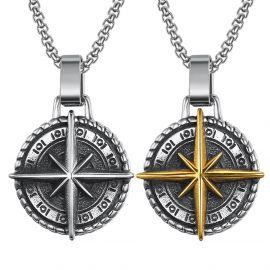 Gold North Star Antique Titanium Steel Pendant