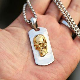 3D Gold Skull Stainless Steel Dog Tag Neckalce