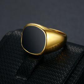 Black Square Signet Titanium Steel Ring in Gold
