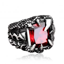 Red Stone Dragon Claw Titanium Steel Ring