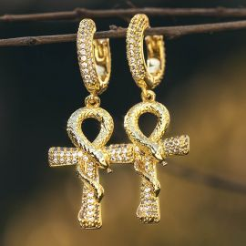 Iced Ankh Ouroboros Cross Dangle Earrings in Gold