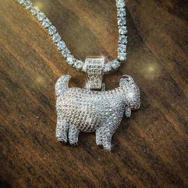 Iced Goat Pendant in White Gold