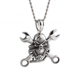 Skull Wrench Titanium Steel Pendant