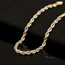 3.5mm Gold & Silver Two-Tone Rope Bracelet