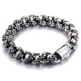 Vintage Titanium Steel Clustered Skull Bracelet