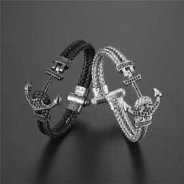 Braided Steel Wire White Gold Anchor Bracelet