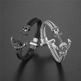 Black Braided Steel Wire Black Gold Anchor Bracelet