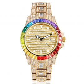 Rainbow Baguette Luminous Dial Watch in Gold
