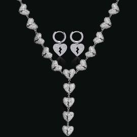 Iced Broken Heart Chain + Broken Heart Dangle Earrings in White Gold