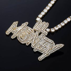 Iced Lil Money Pendant in Gold