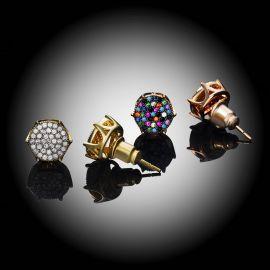 Micro Pave Diamonds Stud Earrings