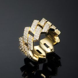 14mm Iced Prong Cuban Ring in Gold