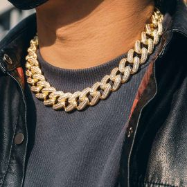 Iced 20mm Square and Round Stones Cuban Link Chain in Gold