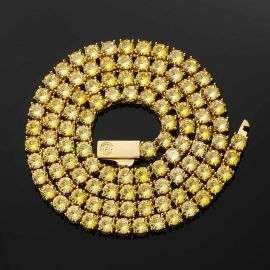 5mm Fancy Yellow Stones Tennis Chain in Gold