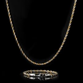 5mm Gold & Silver Two-Tone Rope Chain Set
