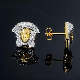 Iced Snake Hair Banshee Earrings in Gold