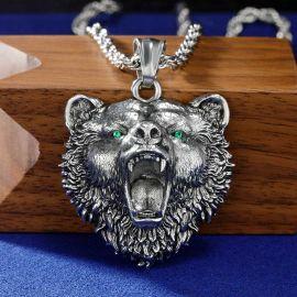 Stainless Steel Roaring Bear Head Pendant