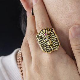 Two-Tone Pharaoh Skeleton Head Ring