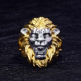 Two-tone Roaring Lion Head Ring