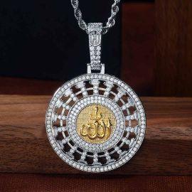 Iced Allahu Akbar Round Pendant in White Gold