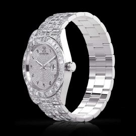 Full Iced Arabic Numerals Date Display Men's Watch in WhiteGold