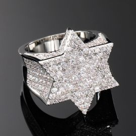 Iced Star of David Ring in White Gold