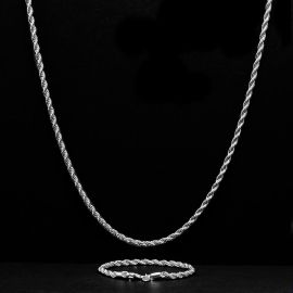 3mm Rope Link Chain Set in White Gold